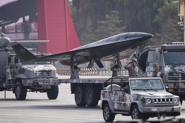 A Chinese unmanned aerial vehicle is presented during a military parade at Tiananmen Square in Beijing on October 1, 2019, to mark the 70th anniversary of the founding of the People's Republic of China. (Photo by Greg Baker/AFP Photo)