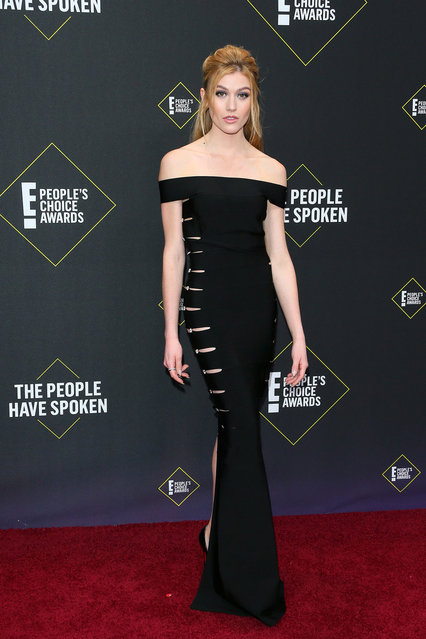 US actress Katherine McNamara arrives for the 45th annual E! People's Choice Awards at Barker Hangar in Santa Monica, California, on November 10, 2019. (Photo by Jean-Baptiste Lacroix/AFP Photo)