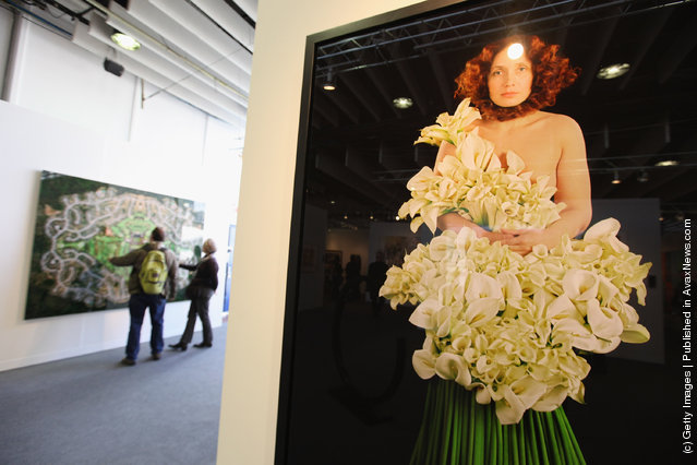 A photograph by Nathalia Edenmont is seen at The Armory Show, New York's annual international art fair