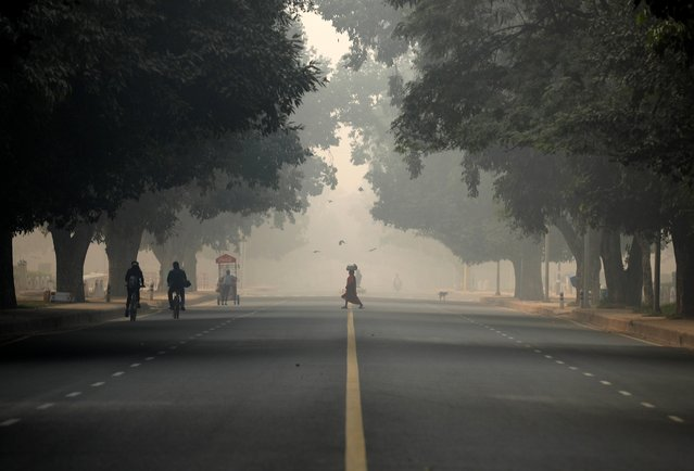 A woman crosses a road on a smoggy morning in New Delhi, India, November 12, 2019. (Photo by Anushree Fadnavis/Reuters)