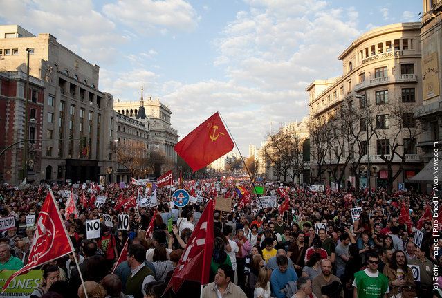 Demonstrators crowd Cibeles Square during a general strike on March 29, 2012 in Madrid, Spain