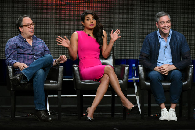 "Executive producer Mark Gordon, from left, actress Priyanka Chopra, and writer/executive producer Joshua Safran appear during the ""Quantico"" panel at the Disney/ABC Summer TCA Tour at the Beverly Hilton Hotel on Tuesday, Aug. 4, 2015 in Beverly Hills, Calif. (Photo by Richard Shotwell/Invision/AP Photo)"