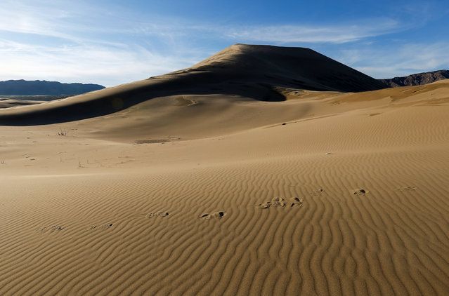 Footprints are seen on the singing sand, the 150-metre-high by three-kilometre-long dune that generates a low-pitched, organ-like rumble in dry weather, in Altyn-Emel national park in Almaty region, Kazakhstan, May 12, 2016 (Photo by Shamil Zhumatov/Reuters)