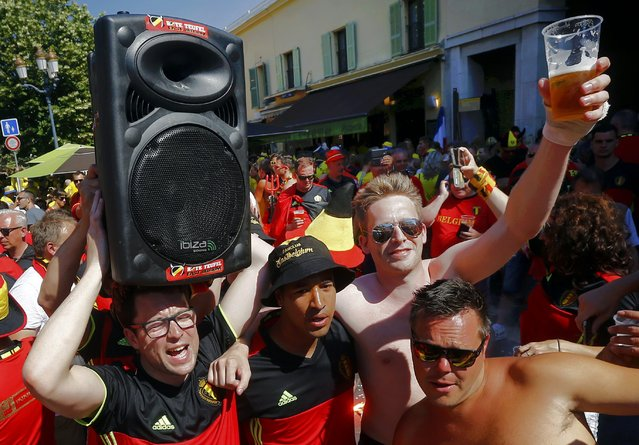Football Soccer, Euro 2016, Nice, France on June 22, 2016. Belgian fans gather in the old town of Nice, France. (Photo by Wolfgang Rattay/Reuters)