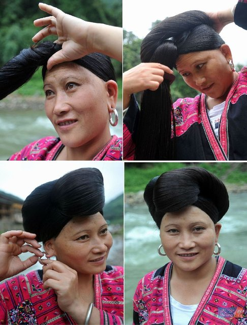 Combine photo taken on July 15, 2012 shows a woman combs her hair and dresses herself up at the Huangluo Village of the Yao ethnic group in Guilin, south China's Guangxi Zhuang Autonomous Region. (Photo by Lu Boan/Xinhua)