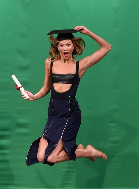 "Karlie Kloss during the Mid-air Modeling segment on ""The Tonight Show Starring Jimmy Fallon""at NBC Studios on May 26, 2016 in New York City. (Photo by Jamie McCarthy/Getty Images)"