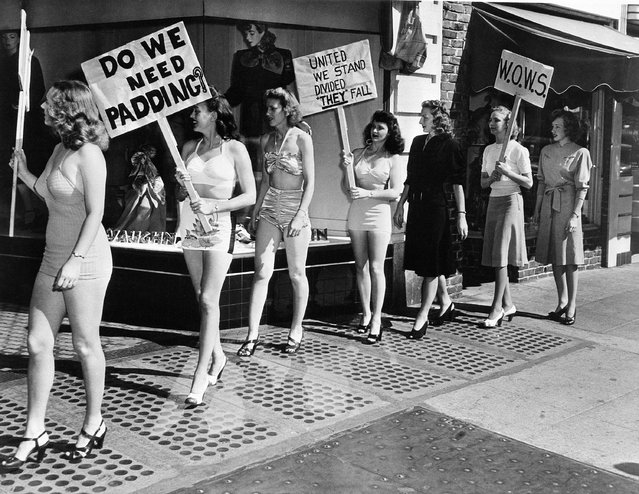 Members of the Women's Organization to War on Styles (WOW) picket a dress shop in Berkeley, Calif., August 23, 1947, in protest to longer skirts and padded hips. They are the wives of GI students at the University of California. Left to right: Jackie Houser; Wanda Ames; Dorothy Inman; Terry Ligon; Ruth Van Arkel; Carrol Reynolds, and Barbara Carmichael. (Photo by AP Photo)