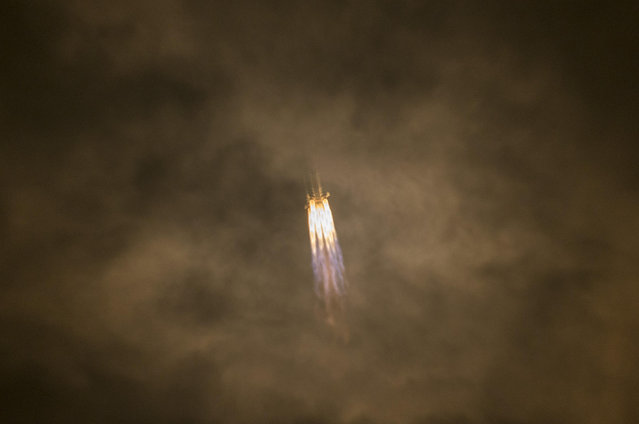 Carrier rocket Long March-7A blasts off from the Wenchang Spacecraft Launch Site on March 16, 2020 in Wenchang, Hainan Province of China. China's new medium-sized carrier rocket Long March-7A was launched at 9:34 pm Monday in Hainan. The rocket then malfunctioned and causes would be investigated. (Photo by Luo Yunfei/China News Service via Getty Images)