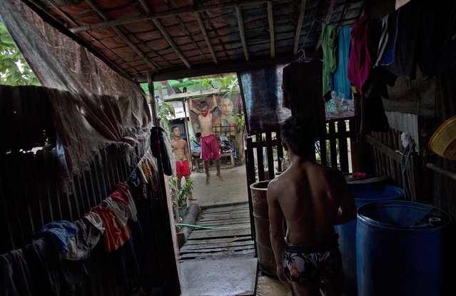In this Tuesday, July 14, 2015, photo, members of the White New Blood lethwei fighters club, a Myanmar traditional martial-arts club which practices a rough form of kickboxing,  do strengthening exercises as another watches from the verandah of their coach's house at their gym on a street in Oakalarpa, north of Yangon, Myanmar. (Photo by Gemunu Amarasinghe/AP Photo)