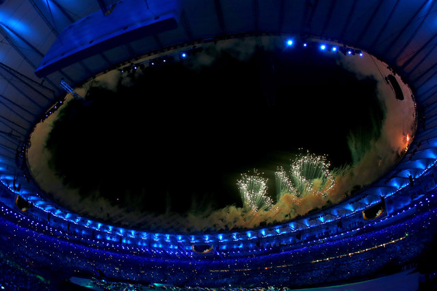 Fireworks explode during the Opening Ceremony of the Rio 2016 Olympic Games at Maracana Stadium on August 5, 2016 in Rio de Janeiro, Brazil. (Photo by Elsa/Getty Images)