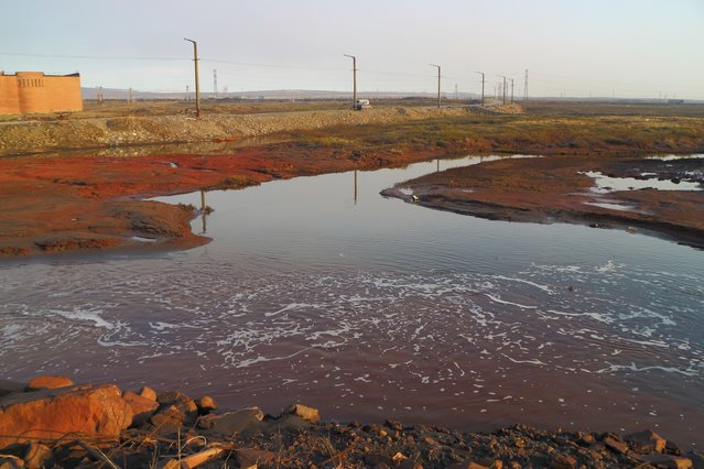 This handout photo provided by Vasiliy Ryabinin shows oil spill outside Norilsk, 2,900 kilometers (1,800 miles) northeast of Moscow, Russia, Friday, May 29, 2020. Russian authorities have charged Vyacheslav Starostin, the director of an Arctic power plant that leaked 20,000 tons of diesel fuel into the ecologically fragile region on May 29, 2020, with violating environmental regulations.  An investigation is ongoing Monday June 8, 2020, into the alleged crime, that could bring five years in prison if Starostin is found guilty. (Photo by Vasiliy Ryabinin via AP Photo)