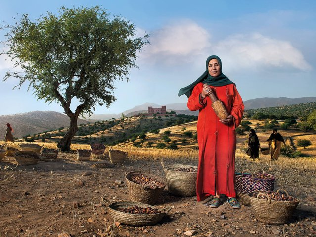 """""""Argan Oil Paladine"""". Nadia Fatmi president of the Tighanimine women's cooperative (a Slow Food Presidium), she is the guardian of the argan tree, which is similar to the olive but grows only on the southern coast of Morocco. From it a rare oil is obtained which has remarkable therapeutic properties and is an excellent condiment. (Photo by Steve McCurry/2015 Lavazza Calendar)"""