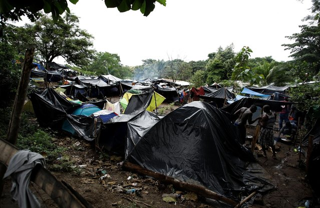 African migrants stranded in Costa Rica stand at camp at the border between Costa Rica and Nicaragua, in Penas Blancas, Costa Rica, September 7, 2016. (Photo by Juan Carlos Ulate/Reuters)