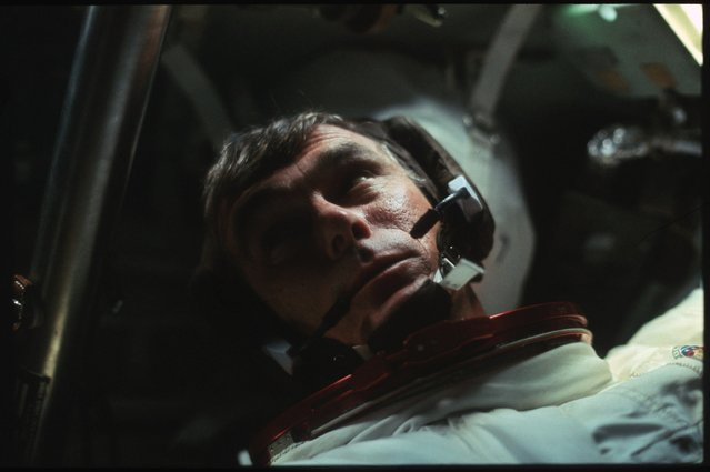 Astronaut Gene Cernan is pictured in the Command Module during the outbound trip from the moon during the Apollo 17 mission in this December, 1972 NASA handout photo. (Photo by Reuters/NASA)