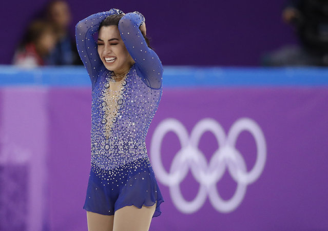 Gabrielle Daleman of Canada reacts after her performance in the Team Event Women's Single Free Skating February 12, 2018. (Photo by Damir Sagolj/Reuters)