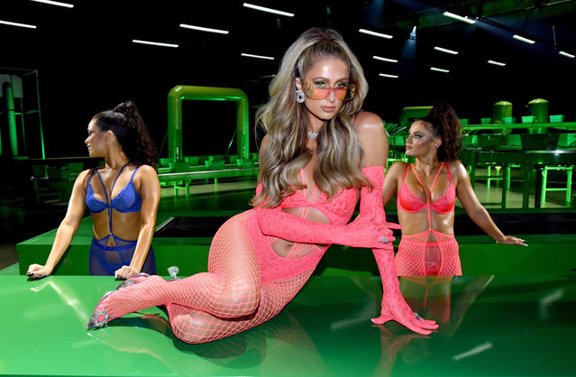 In this image released on October 2, Paris Hilton is seen onstage during Rihanna's Savage X Fenty Show Vol. 2 presented by Amazon Prime Video at the Los Angeles Convention Center in Los Angeles, California; and broadcast on October 2, 2020. (Photo by Kevin Mazur/Getty Images for Savage X Fenty Show Vol. 2 Presented by Amazon Prime Video)