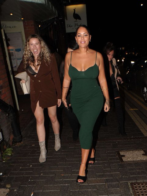 TV personality Malin Andersson (R) out and about, at PeaHen bar in St Albans, England on October 3, 2020. (Photo by SIPA Press/Rex Features/Shutterstock)