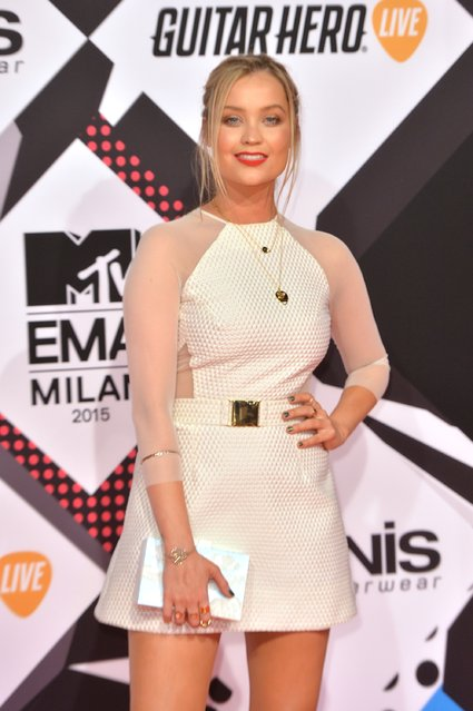Presenter Laura Whitmore attends the MTV EMA's 2015 at the Mediolanum Forum on October 25, 2015 in Milan, Italy. (Photo by Anthony Harvey/Getty Images for MTV)