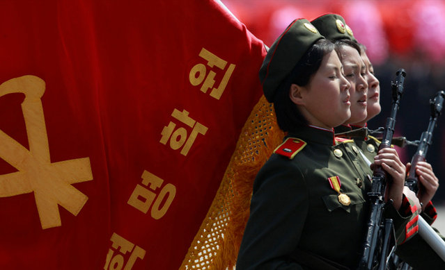 North Korea Parade New Missile April 15, 2012. North Korea Celebrates Nuclear Testing. (Photo by Boaz Guttman)