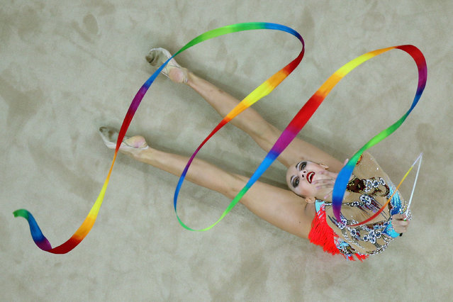 Irina Annenkova of Russia competes in Rhythmic Gymnastics Individual All-Around Qualification on day ten of the Nanjing 2014 Summer Youth Olympic Games at Nanjing OSC Gymnasium on August 26, 2014 in Nanjing, China. (Photo by Feng Li/Getty Images)