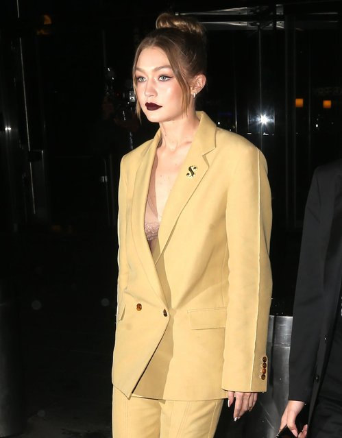 "Model Gigi Hadid is seen leaving the HBO documentary series premiere of ""Being Serena"" at Time Warner Center on April 25, 2018 in New York City. (Photo by Splash News and Pictures)"