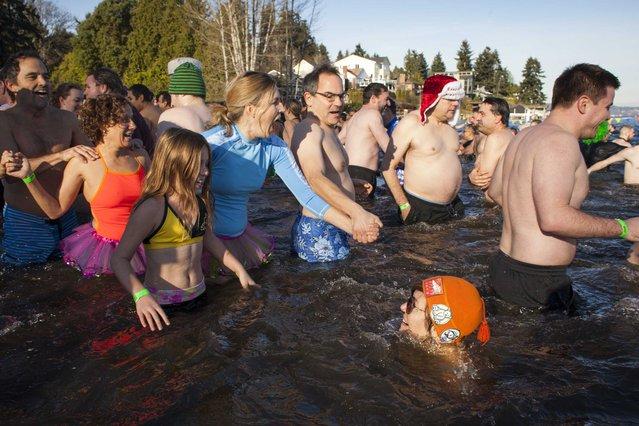 People enter Lake Washington during the 13th annual Polar Bear Plunge at Matthews Beach Park in Seattle, Washington January 1, 2015. (Photo by David Ryder/Reuters)