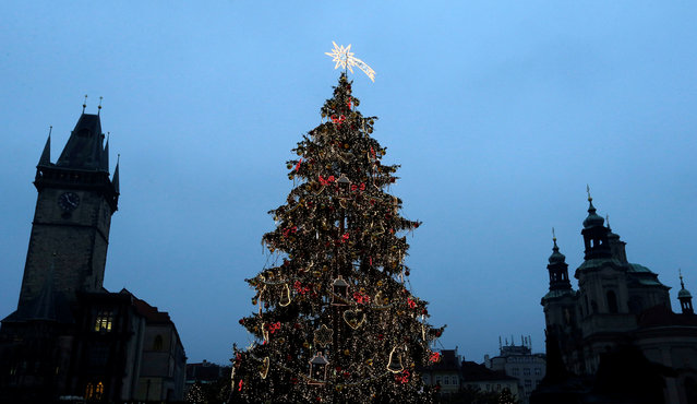 A Christmas tree is illuminated as the traditional Christmas market opens at the Old Town Square in Prague, Czech Republic, November 26, 2016. (Photo by David W. Cerny/Reuters)