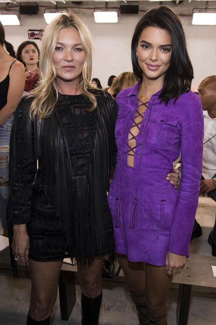 Kate Moss, left, and Kendall Jenner attend the Longchamp show during Fashion Week on Saturday, September 8, 2018 in New York. (Photo by Charles Sykes/Invision/AP Photo)