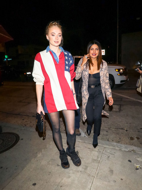 Celebrities seen in Los Angeles, California on January 22, 2019. Pictured: Sophie Turner (L) and Priyanka Chopra. (Photo by Splash News and Pictures)