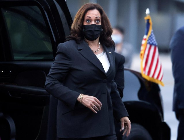 US Vice President Kamala Harris reacts as she departs Singapore on August 24, 2021, as she travels next to Vietnam. (Photo by Evelyn Hockstein/Pool via AFP Photo)