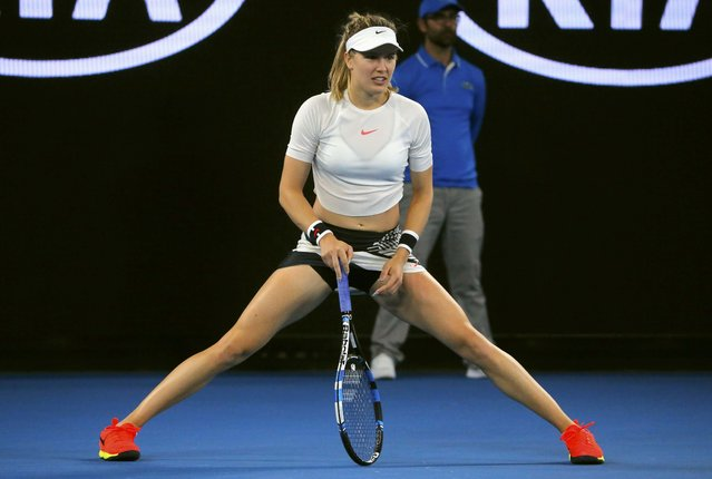 Canada' s Eugenie Bouchard reacts after a point against Coco Vandeweghe of the US during their women' s singles third round match on day five of the Australian Open tennis tournament in Melbourne on January 20, 2017. (Photo by Jason Reed/Reuters)