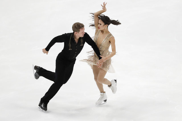 Madison Chock and Evan Bates, of the United States, perform during the ice dance free dance competition at the Four Continents Figure Skating Championships on Sunday, February 10, 2019, in Anaheim, Calif. (Photo by Chris Carlson/AP Photo)