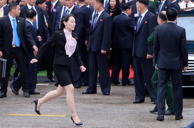 Kim Yo Jong, sister of Kim Jong Un, runs after they arrive at the border town of Dong Dang, Vietnam, February 26, 2019. (Photo by Reuters/Stringer)
