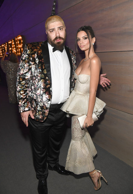 Josh Ostrovsky (L) and Emily Ratajkowski attend the 2019 Vanity Fair Oscar Party hosted by Radhika Jones at Wallis Annenberg Center for the Performing Arts on February 24, 2019 in Beverly Hills, California. (Photo by Kevin Mazur/VF19/WireImage)
