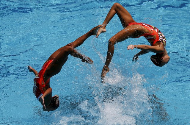 The team from Japan performs their Free Routine during the Synchronized Swimming Olympic Games Qualification Tournament at the Maria Lenk Aquatics Center in Rio de Janeiro, Brazil on March 6, 2016. (Photo by Sergio Moraes/Reuters)