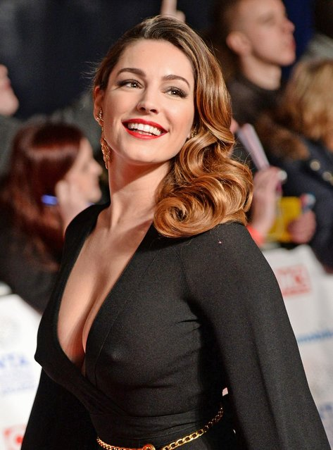 Kelly Brook arriving for the 2014 National Television Awards at the O2 Arena, London, on January 22, 2014. (Photo by XposurePhotos.com)