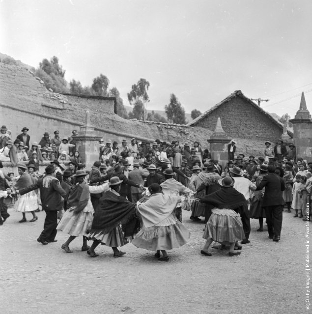The citizens of Puno in the Peruvian Andes celebrate a wedding with a traditional dance, 1955