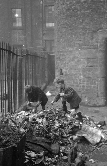 Glaswegian children playing on a rubble heap in the Gorbal on January 31, 1948. (Photo by Bert Hardy/Picture Post/Getty Images)