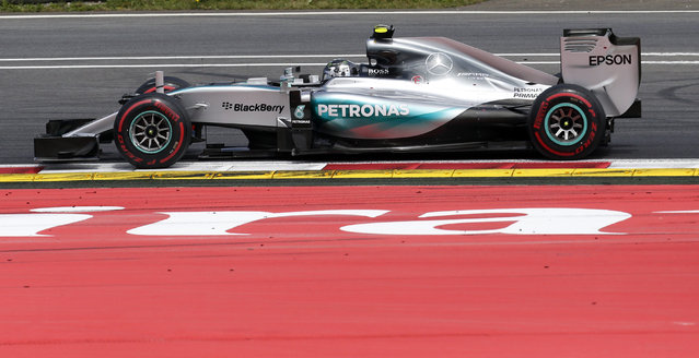 Mercedes driver Nico Rosberg of Germany steers his car during the the Formula One Grand Prix race, at the Red Bull Ring in Spielberg, southern Austria, Sunday, June 21, 2015. (AP Photo/Darko Bandic)