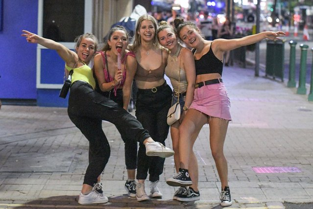 These girls are all smiles as they celebrate surviving A-level results day in Birmingham, England on August 15, 2019. The A Level is a subject-based qualification conferred as part of the General Certificate of Education, as well as a school leaving qualification offered by the educational bodies in the United Kingdom. (Photo by SnapperSK/SnapperMS)