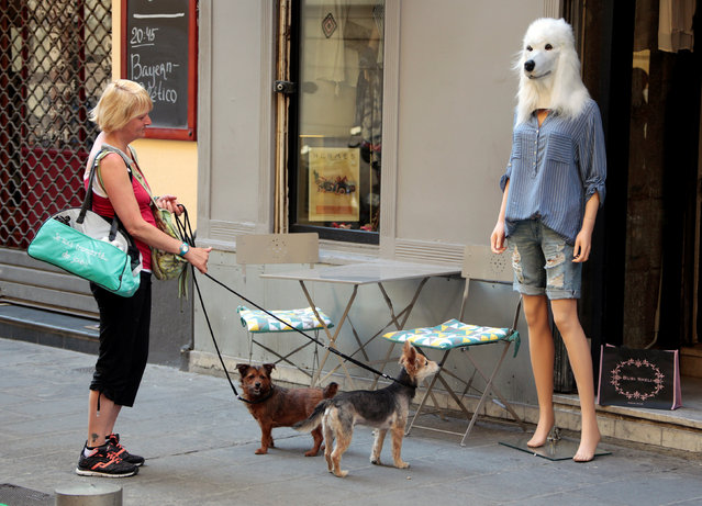 A woman and her dogs stop and look at a store mannequin wearing a dog's head mask outside a fashion shop in Nice, France, May 3, 2016. (Photo by Eric Gaillard/Reuters)