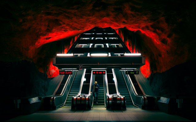 """""""Downstairs"""". Travelling with Stockholms Underground is also a art sigthseeing tour! Photo location: Stockholm, Sweden. (Photo and caption by Torsten Muehlbacher/National Geographic Photo Contest)"""