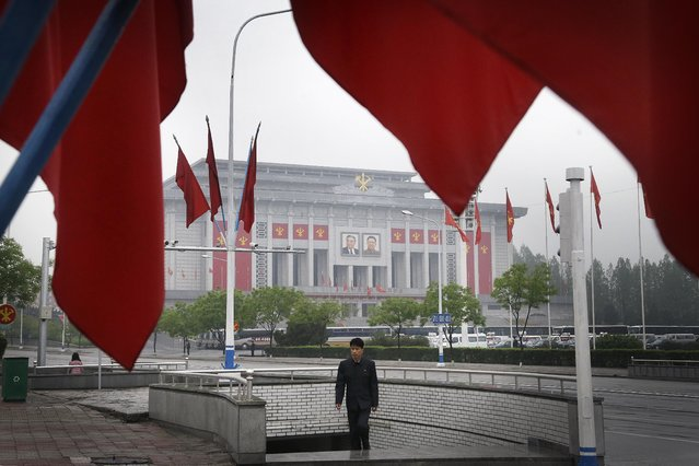 A North Korean man walks out of an underpass while seen framed by the Workers' Party flags, in front of the April 25 House of Culture, the venue for the 7th Congress of the Workers' Party of Korea on Friday, May 6, 2016, in Pyongyang, North Korea. North Korea has been duly spruced up, the masses prepped for their rallies and leader Kim Jong Un appears to be set to take center stage Friday when North Korea pulls back the curtain on what promises to be the country's biggest political show in years, if not decades: the first full congress of its ruling party since 1980. (Photo by Wong Maye-E/AP Photo)