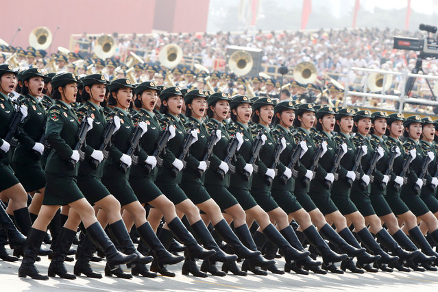Soldiers of People's Liberation Army (PLA) march in formation during the military parade marking the 70th founding anniversary of People's Republic of China, on its National Day in Beijing, China on October 1, 2019. (Photo by Thomas Peter/Reuters)