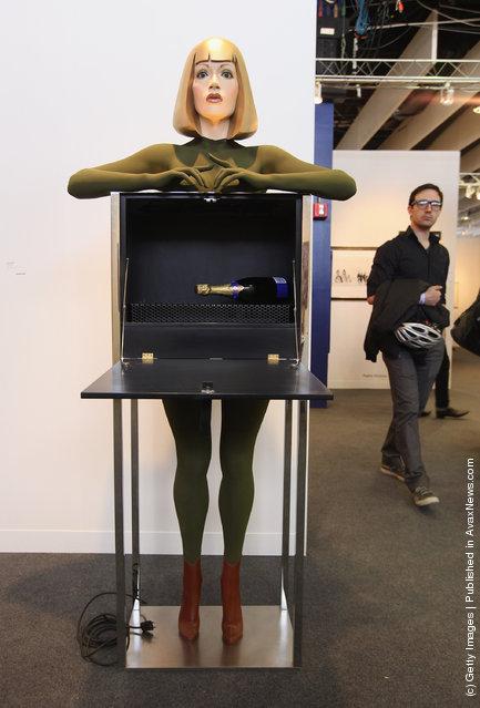 Refrigerator by Allen Jones is seen at The Armory Show, New York's annual international art fair