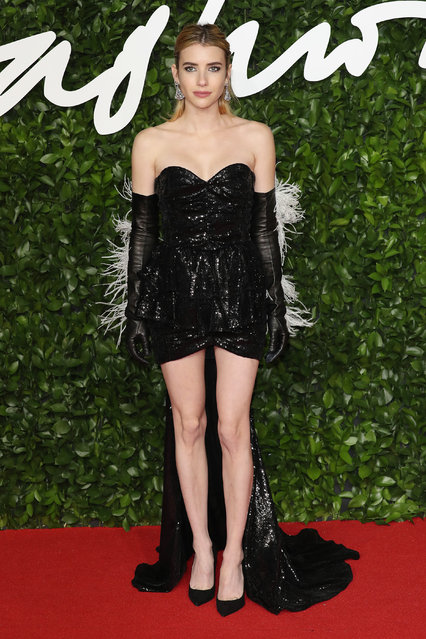 Emma Roberts arrives at The Fashion Awards 2019 held at Royal Albert Hall on December 02, 2019 in London, England. (Photo by Neil Mockford/FilmMagic)