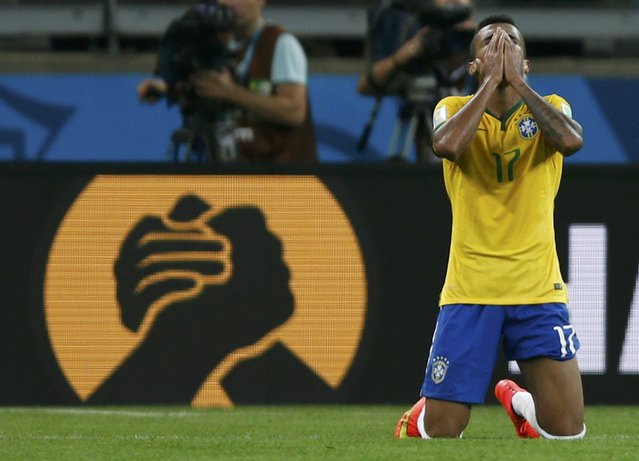 Brazil's Luiz Gustavo reacts after the 2014 World Cup semi-finals between Brazil and Germany at the Mineirao stadium in Belo Horizonte July 8, 2014. (Photo by Marcos Brindicci/Reuters)