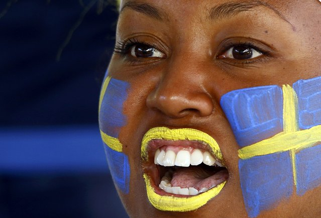 Football Soccer, Euro 2016, Nice, France on June 22, 2016. Sweden fan sports face paint in Nice, France. (Photo by Wolfgang Rattay/Reuters)