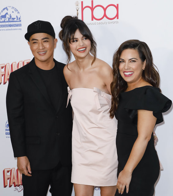 (L-R) Hung Vanngo, Selena Gomez and Marissa Marino attend the 2020 Hollywood Beauty Awards at The Taglyan Complex on February 06, 2020 in Los Angeles, California. (Photo by Tibrina Hobson/Getty Images)