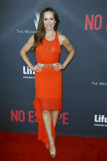 """Dancer Karina Smirnoff poses at the premiere of the film """"No Escape"""" in Los Angeles, California August 17, 2015. (Photo by Danny Moloshok/Reuters)"""
